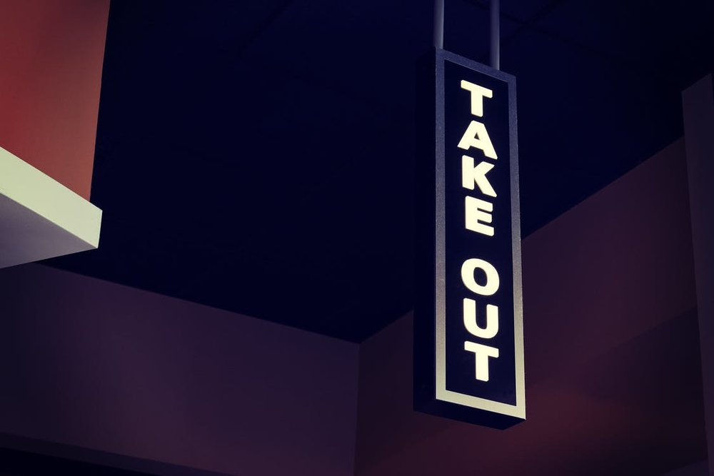 An image of a free standing take out sign.