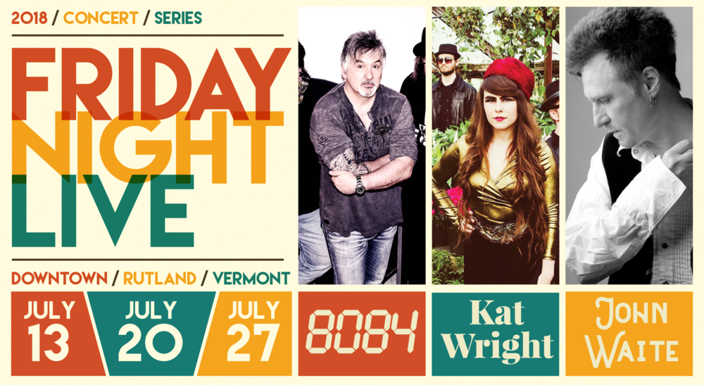 Graphic for the Friday Night Live Concert Series occurring on July 13th, 20th, & 27th in 2018.
