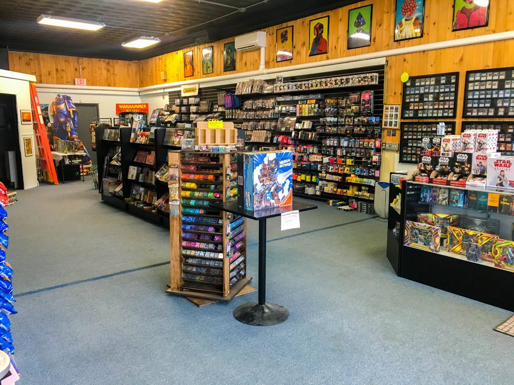 A view of Black Moon Games' large selection of merchandise in Downtown Rutland.