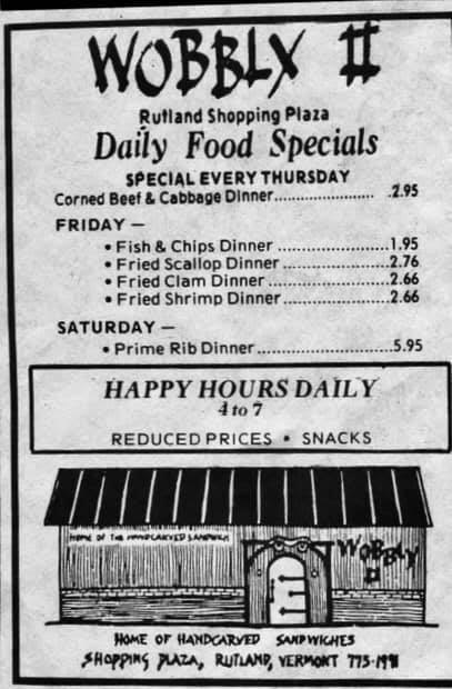 A menu from The Wobbly II. Photo Courtesy of Raymond Mooney