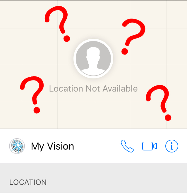 "Location map from iPhone displaying an ""Location Not Available"" Contact information"