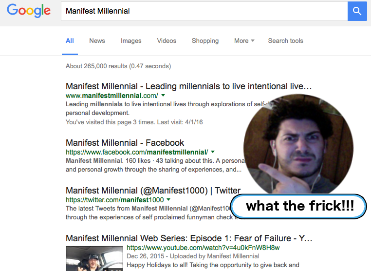 Manifest Millennial Google Search - Floating head of AJ Massaro pointing out new google search color