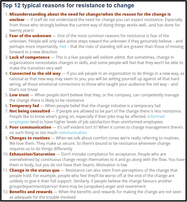 List of 12 reasons why people are resistant to change