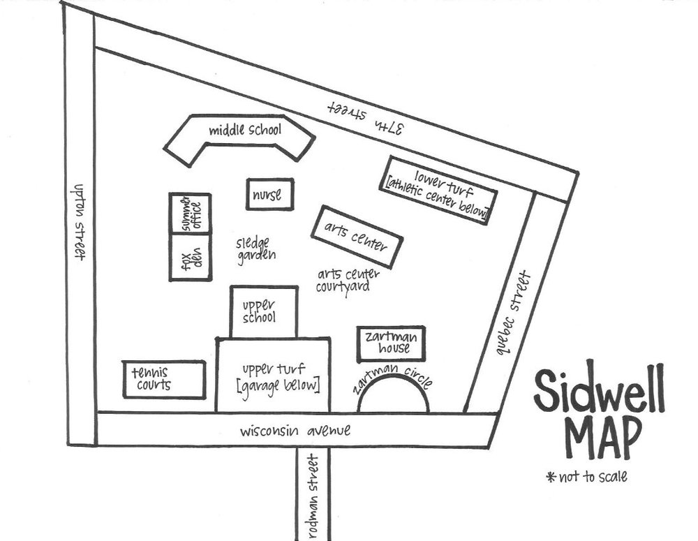 Map of important Sidwell Summer (DC Campus) locations for camp meeting spots, carpool pick-ups, and more!