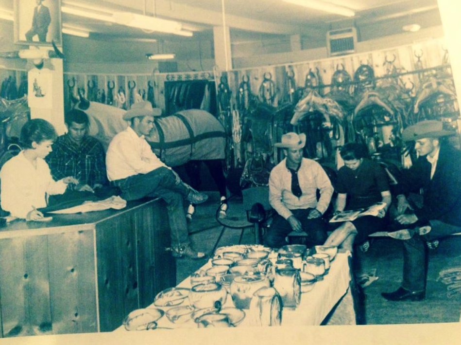 Eddie Courtney, second from left, at The Cowboy Store, in downtown Levelland, in its prime.