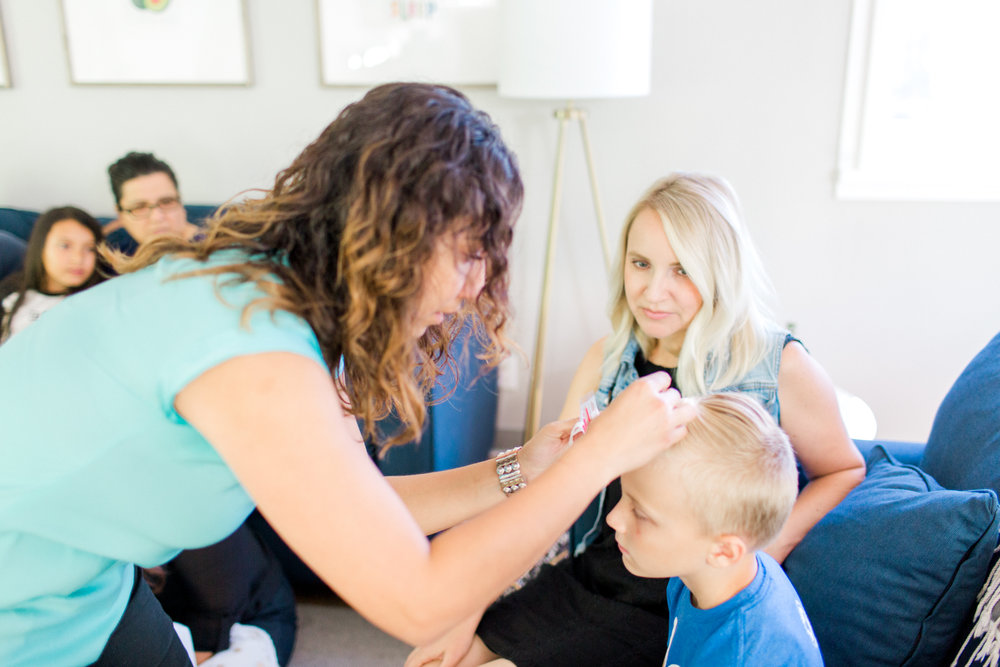 Licensed TCM practitioner, Maria, supports Blake and his mom with weekly acupuncture.