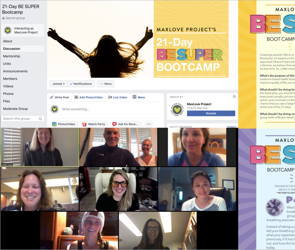 21-Day BE SUPER Bootcamp - An online program designed to bring childhood cancer parents together to learn, support each other, and engage in BE SUPER health actions that boost parent mental, emotional, and physical well-being