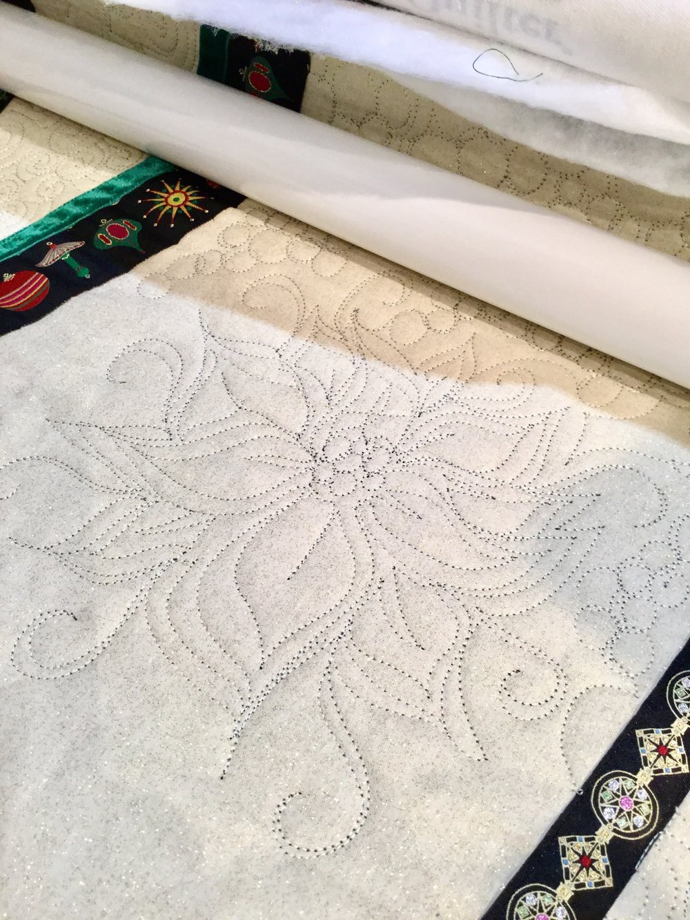 Free motion quilting on a custom Christmas project