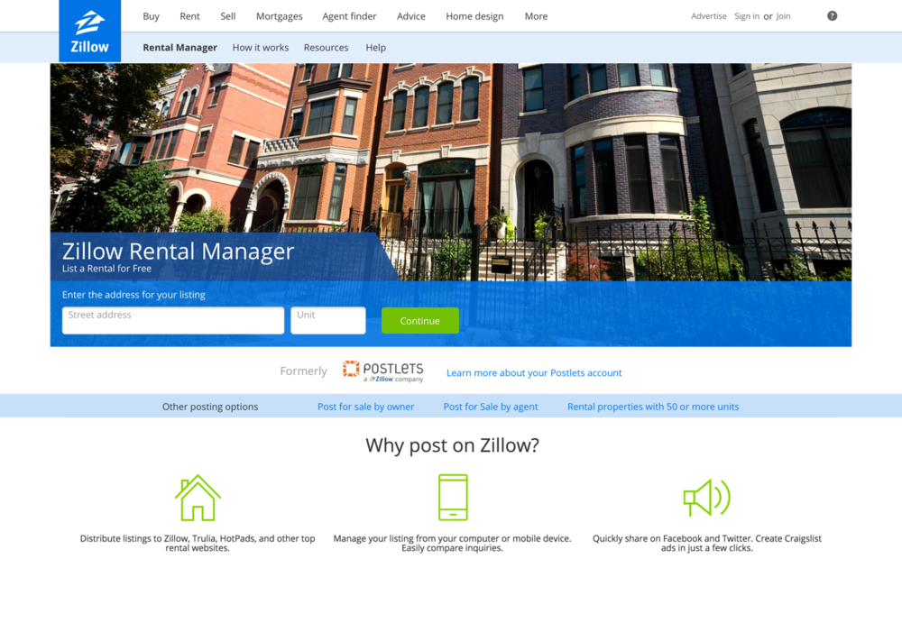 2016 Zillow Rental Manager homepage