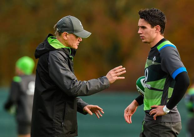 Joye Schmidt prepping for World Cup by playing Joey Carbery. Photo courtesy of Irish Independent
