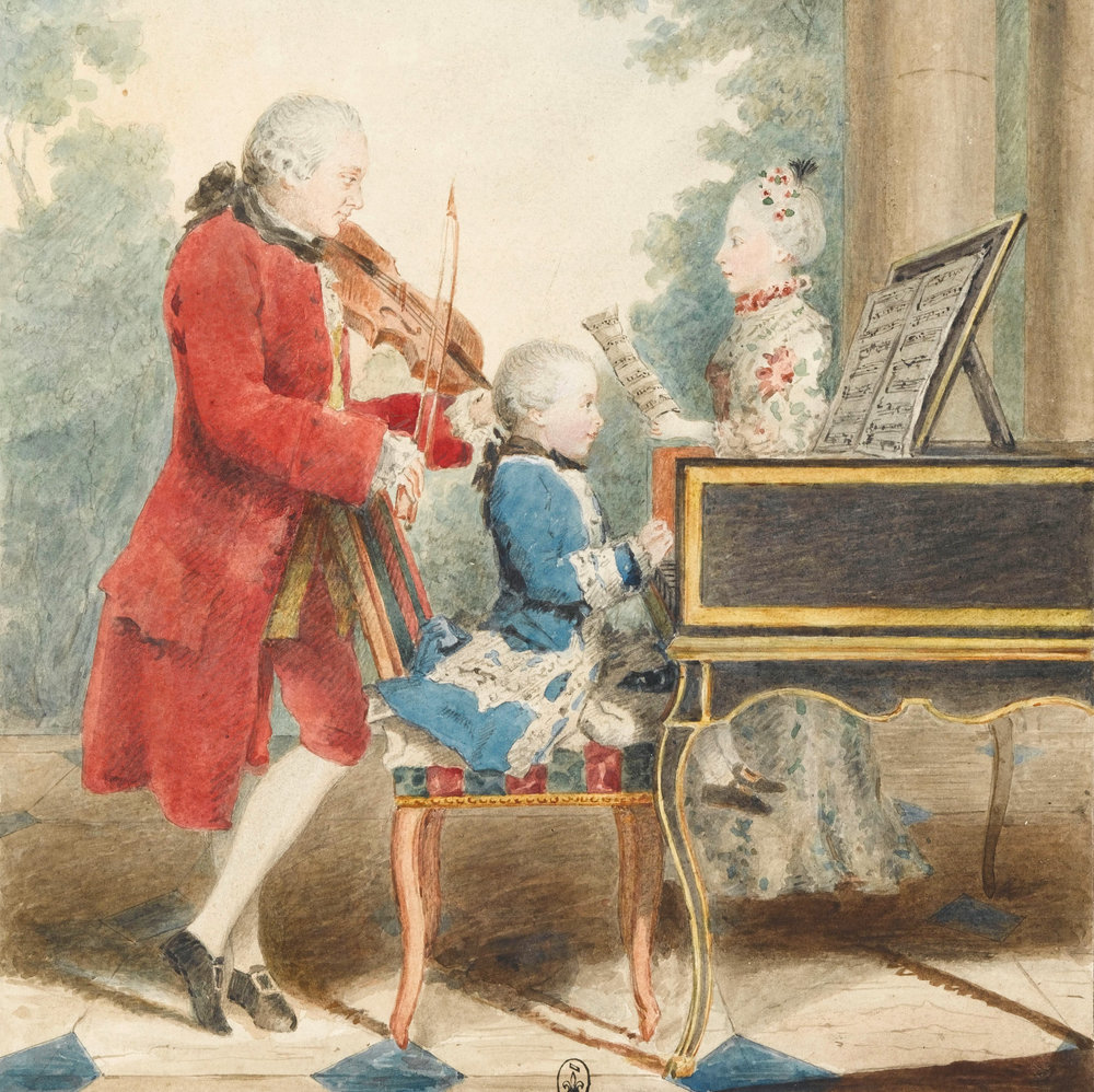 Mozart is one of the most famous child prodigies, but it's less widely known that his father was a world famous music teacher, and started training him from age 3. Mozart's sister was also an accomplished player. This is a painting of all three practicing together. Great skill requires lots of practice.