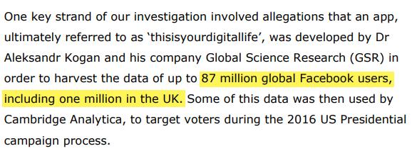 UK Commission Report - Kogan Data Harvest 87 million