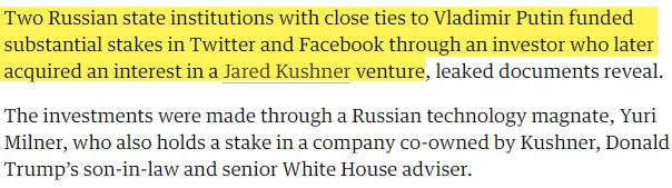 Russian Twitter Investors - Jared Kushner Connection