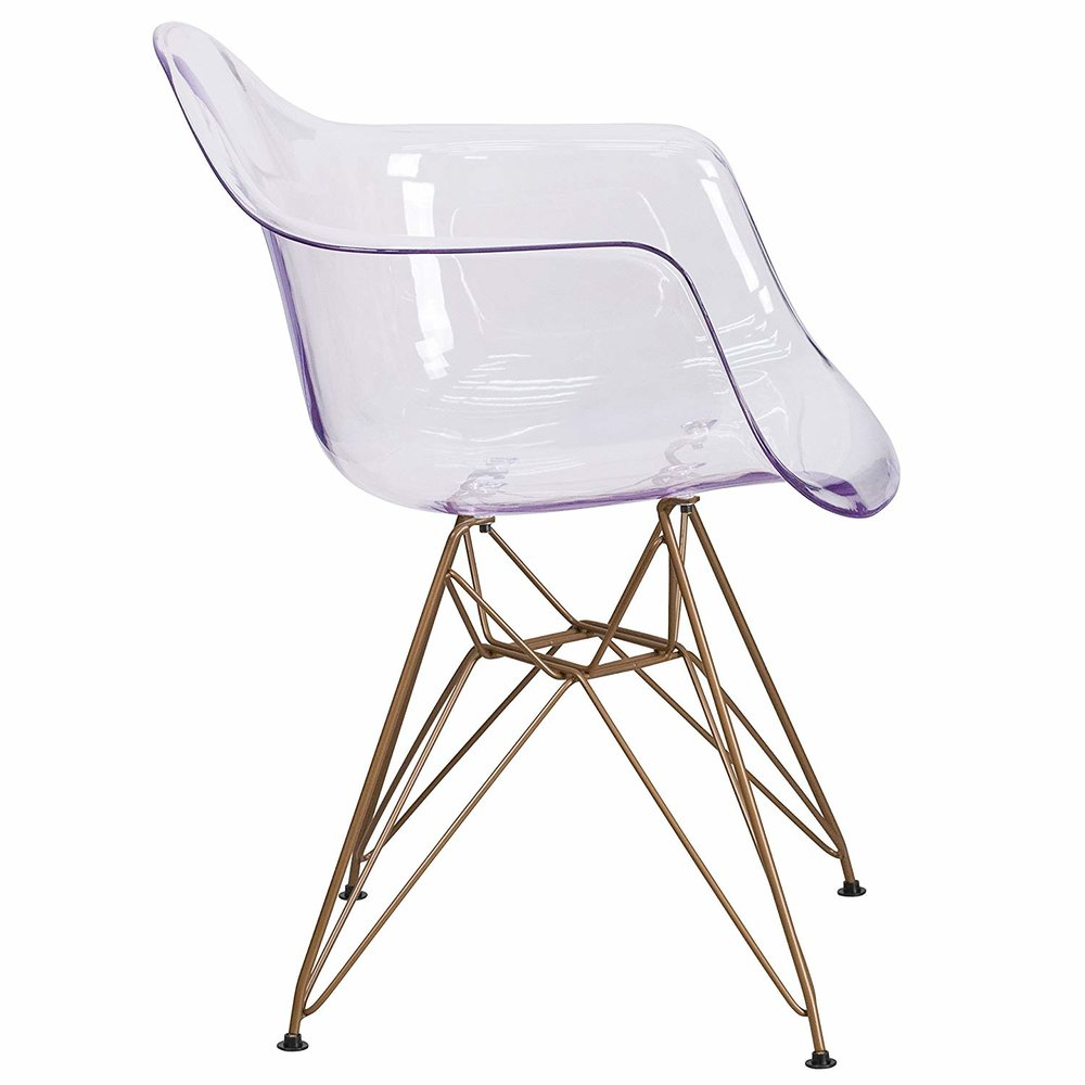 Transparent Side Chair with Gold Base