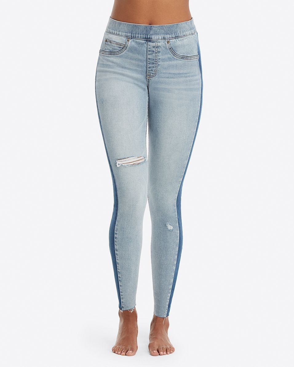 Distressed Skinny Jeans w/Side Stripe
