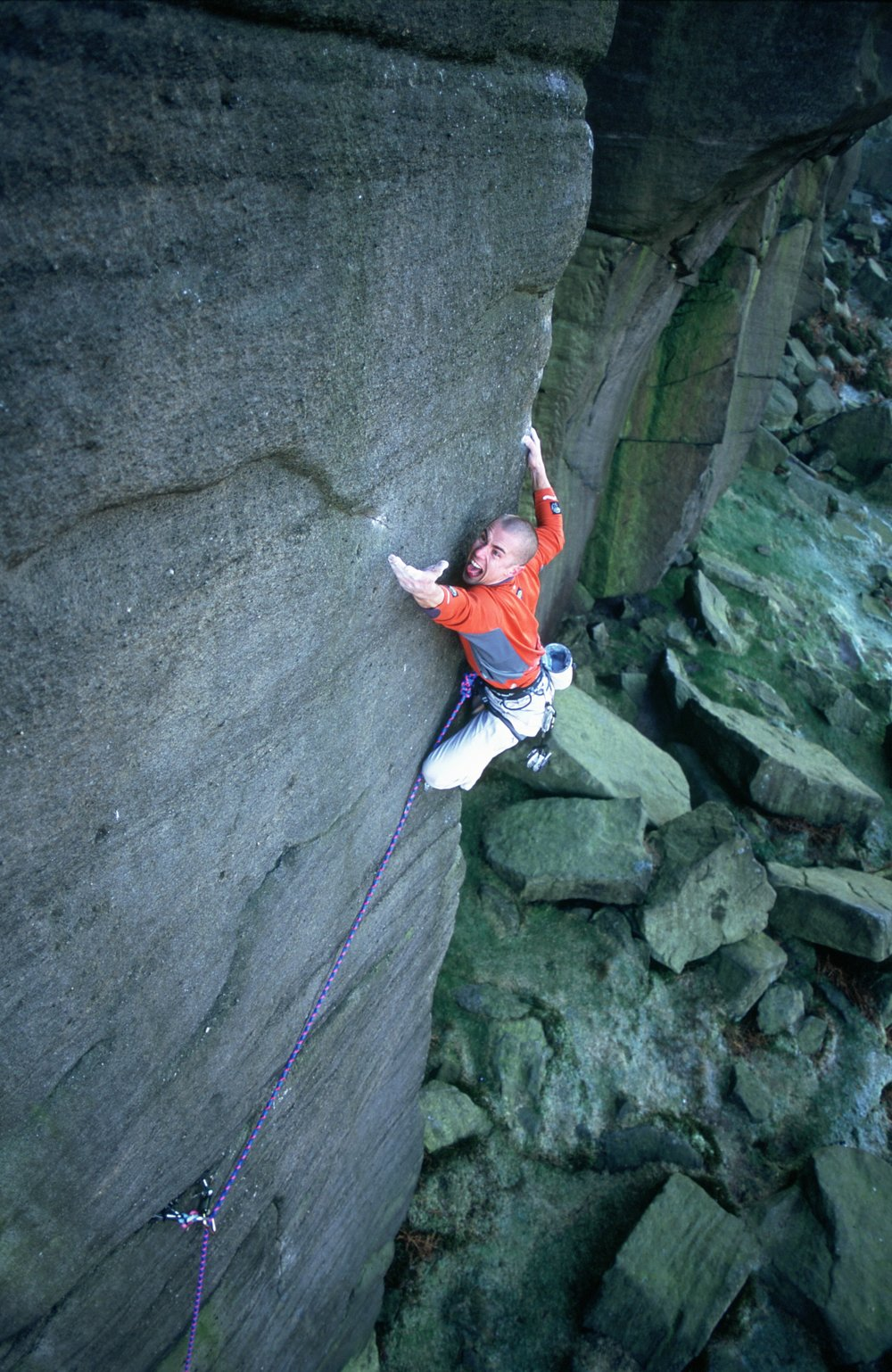 Second ascent of Equilibrium E10 7a in 2001. Britain's hardest trad route at the time. Photo: Mike Robertson