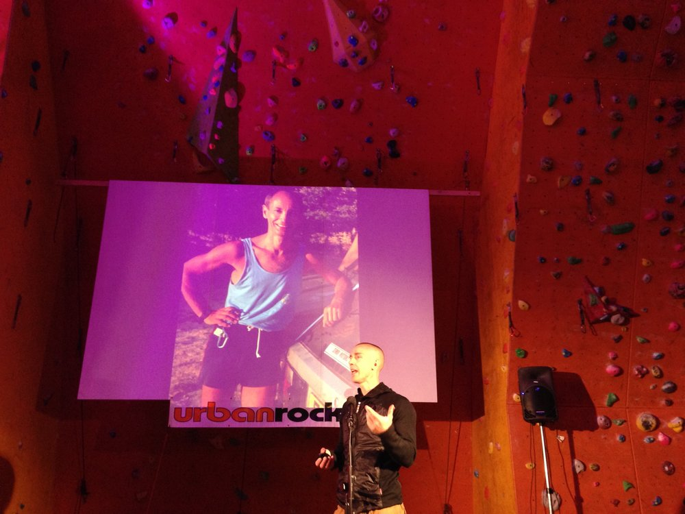 London stage of UK lecture tour with Adam Ondra in 2015.