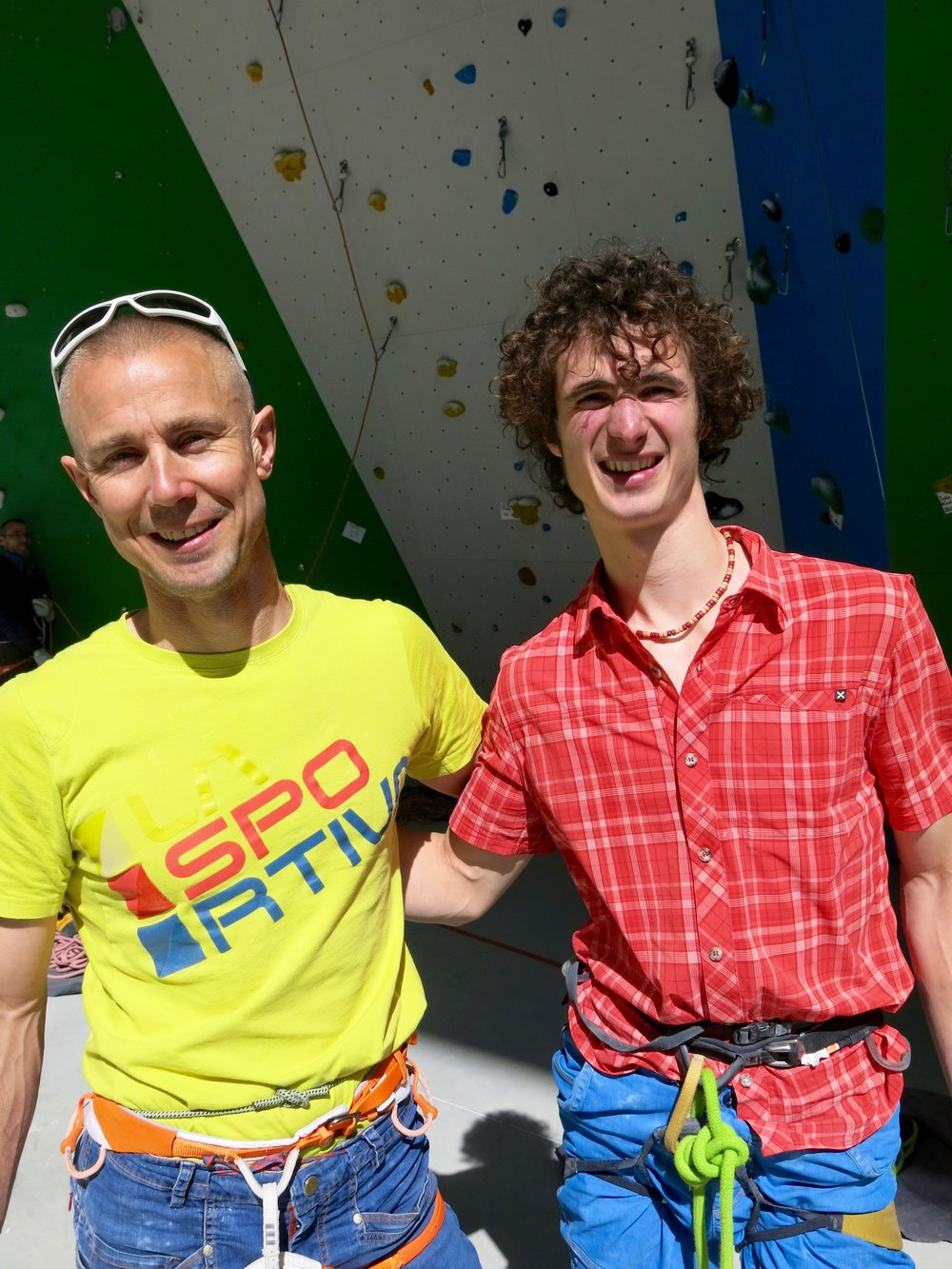 With La Sportiva team mate Adam Ondra at a product testing event in Val Di Fiemme, Italy