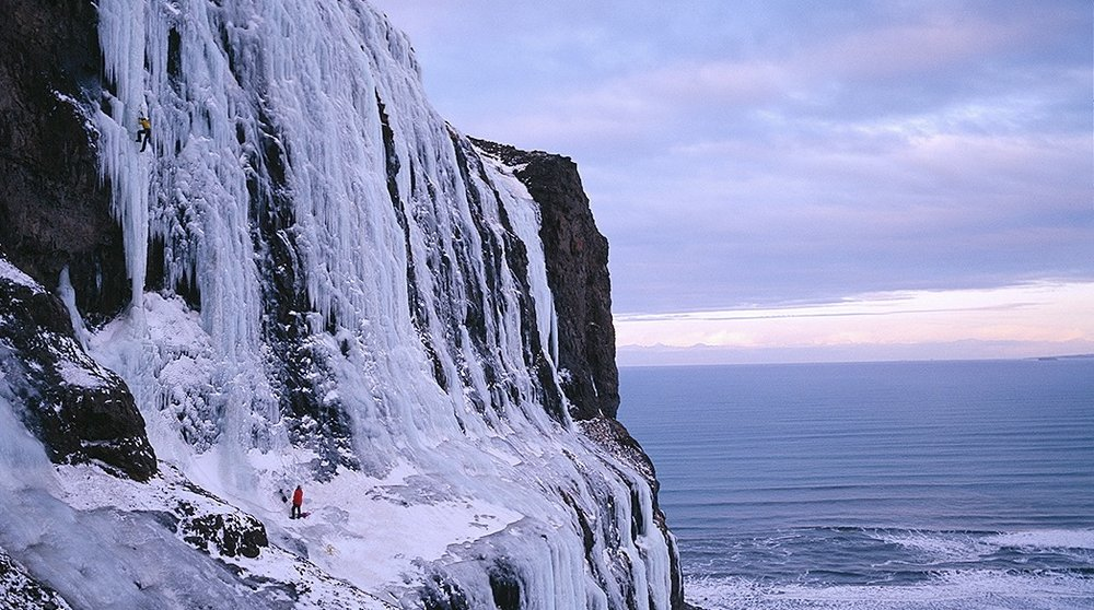 First Ascent of Mr. Freeze WI 6 in Iceland in 2007..  Photo: Copyright Alastair Lee