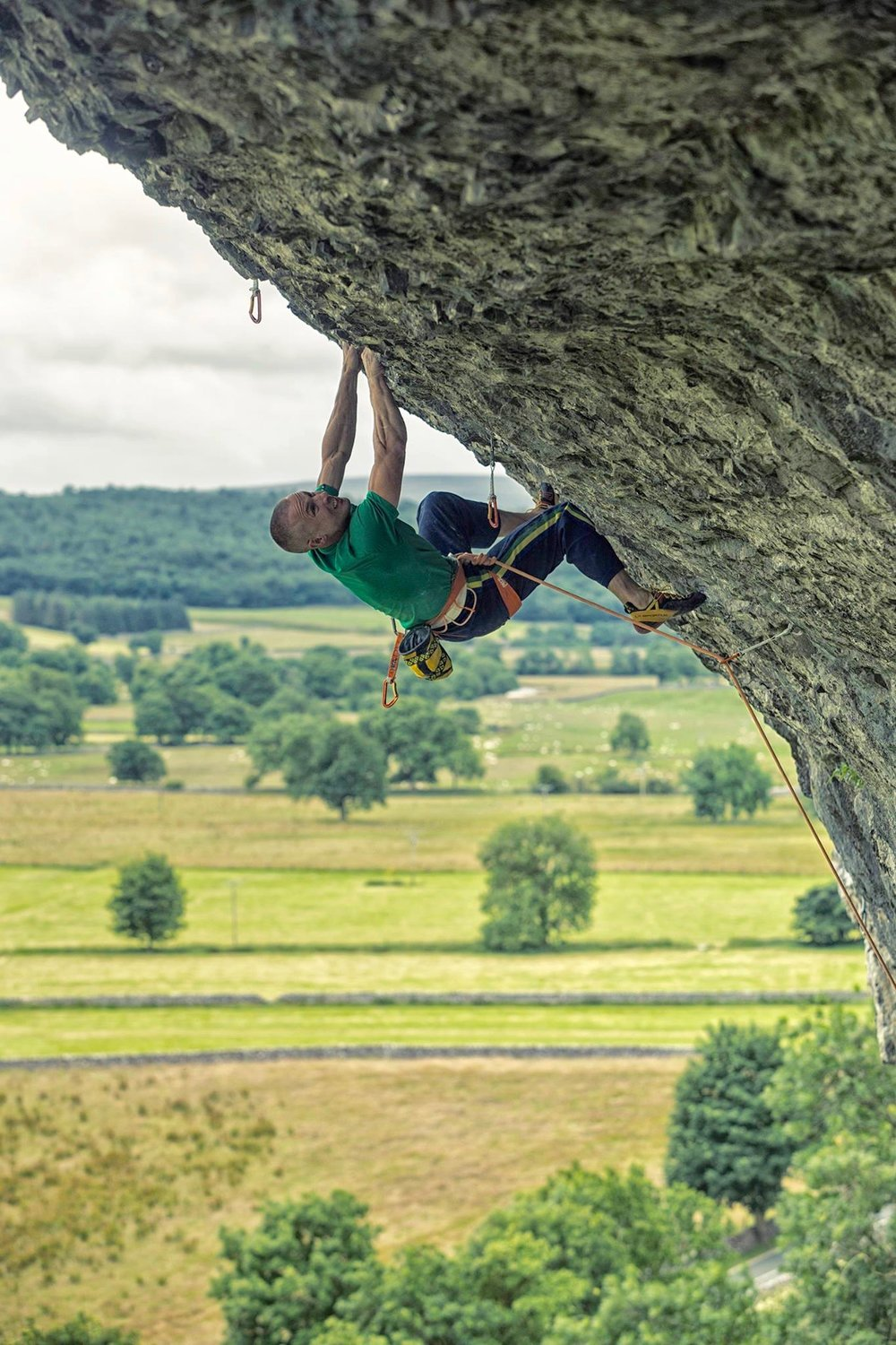 Freakshow 8c, Kilnsey, UK. First ascent in 2015.  Photo: Copyright Lukasz Warzecha