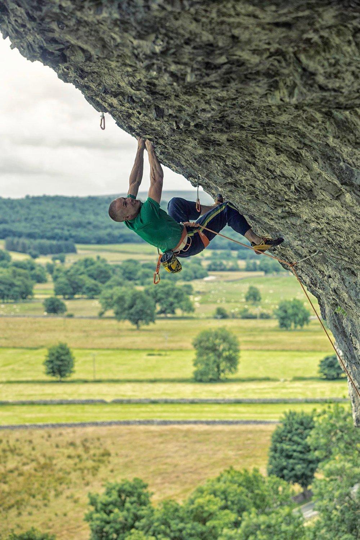 Freakshow 8c, Kilnsey, UK. First ascent in 2015.  Photo: Copyright Lukasz Warzecha