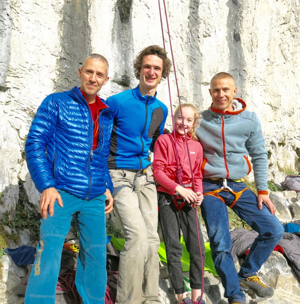 Coaching 10 year old Hannah Toward at Malham with Steve McClure and Adam Ondra