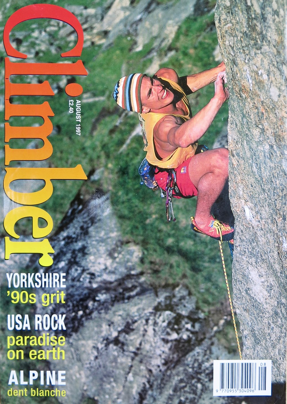 Gravediggers E8 6c on the cover of Climber in 1997.   Photo: Ray Wood