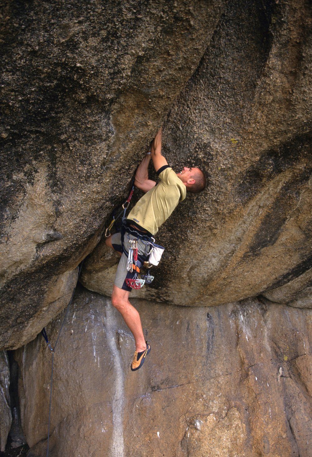 Ulan Battered E5 6b, Ghorki Park. First ascent in 2001.  Photo: Mike Robertson