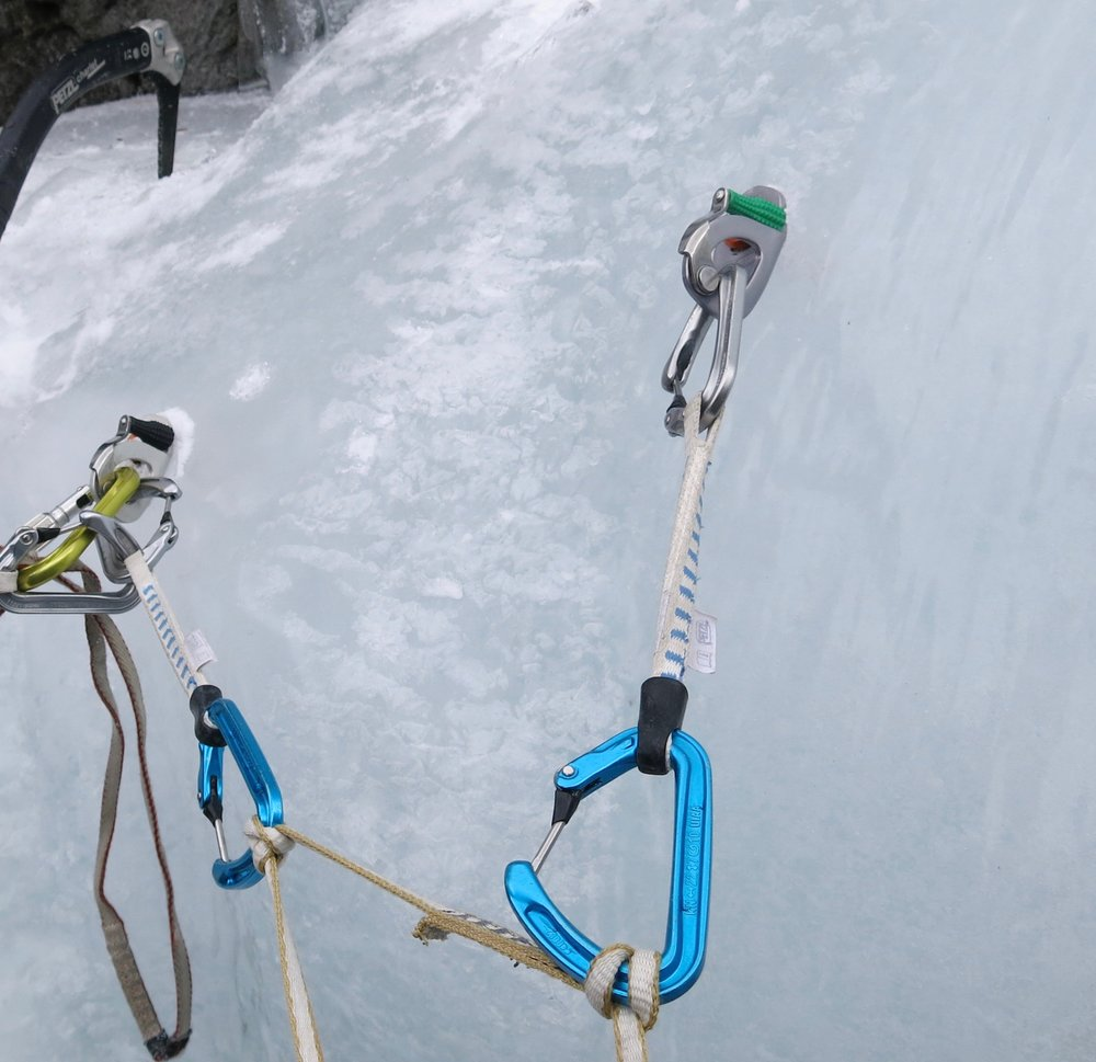 Equalised belay using Ange quickdraws and Laser Speed ice screws in Rowaling, Nepal. Photo: Gresham collection