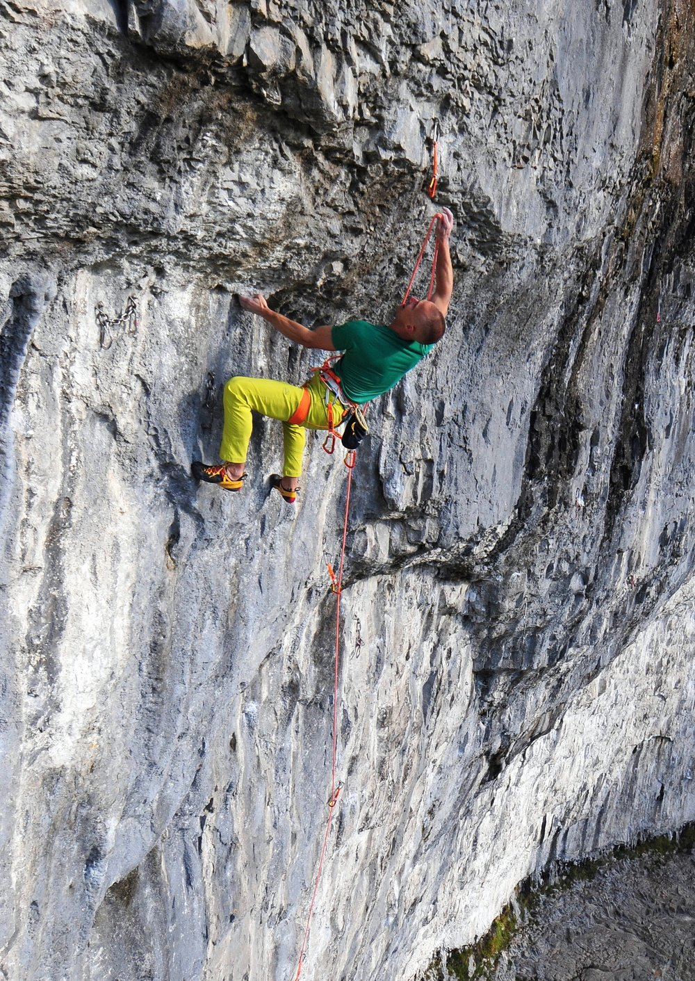 The crux clip on Sabotage 8c+, Malham, UK, using Spirit quickdraws. Photo: Ian Parnell