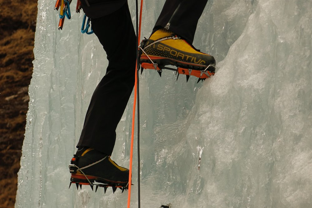 The Lynx crampons on Nepalese ice in the Rowaling valley in 2014. Photo: Gresham collection