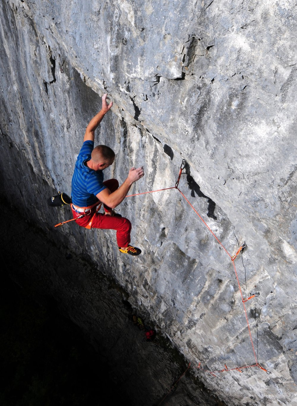 The Volta 9.0mm Guide holds takes the strain from the crux of Sabotage 8c+. Photo Ian Parnell