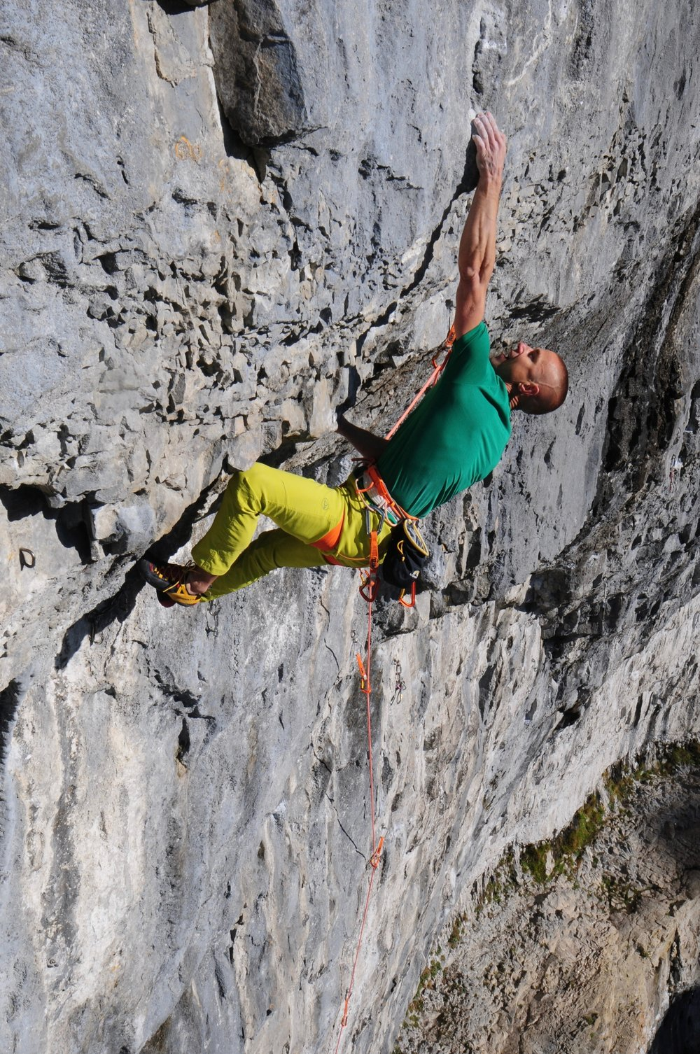 Wearing the Sitta harness on Sabotage 8c+, Malham Cove. Photo: Ian Parnell
