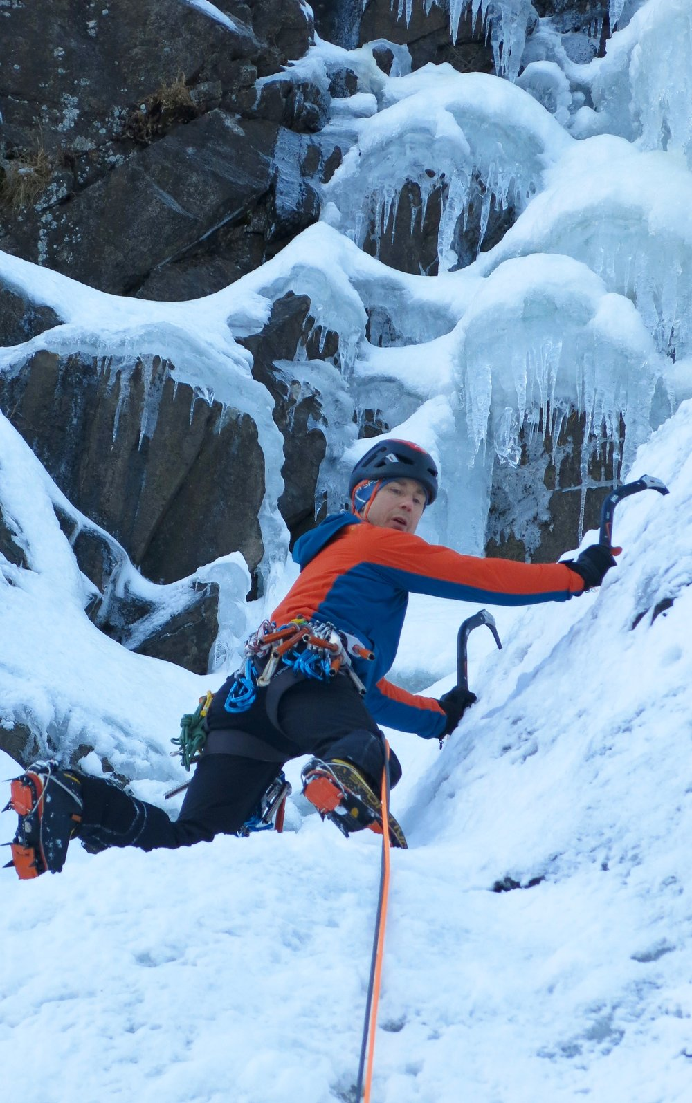 Climbing at the elusive Eidfjord in Norway, using the Aquila harness.   Photo: Gerard Smith