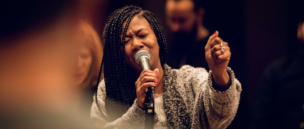 Sharon Irving leads us in passionate worship at The Practice.