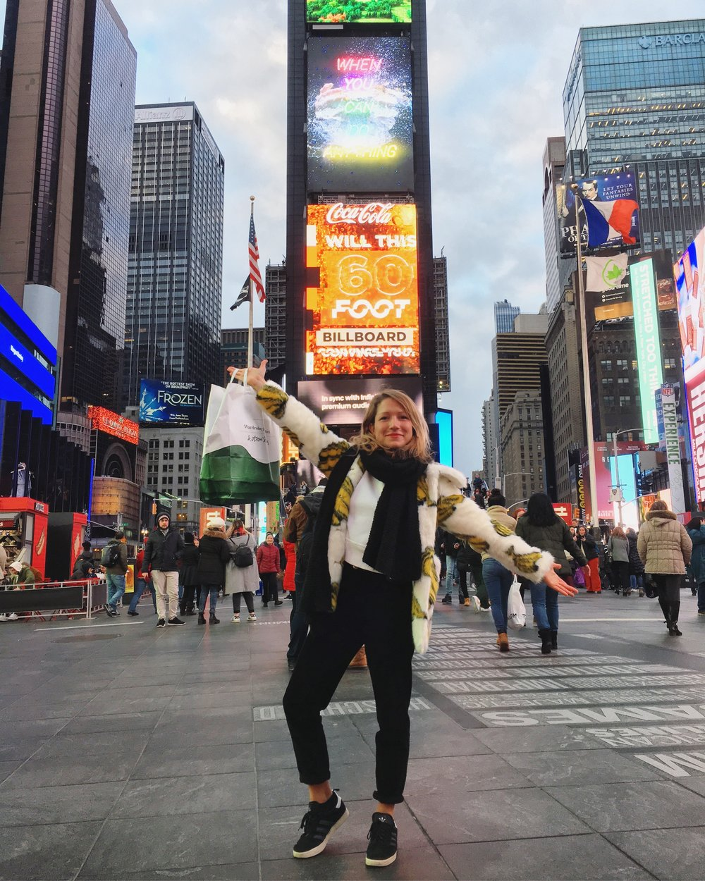 effect of new contract + shopping + banana fur on me 🤣 - #TimeSquare