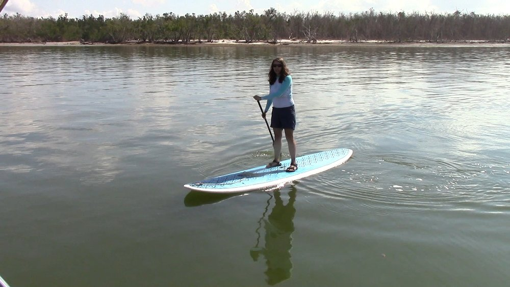My first time paddle boarding. Thankfully, neither of us fell.
