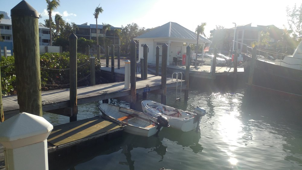 Our dinghy at the marina.
