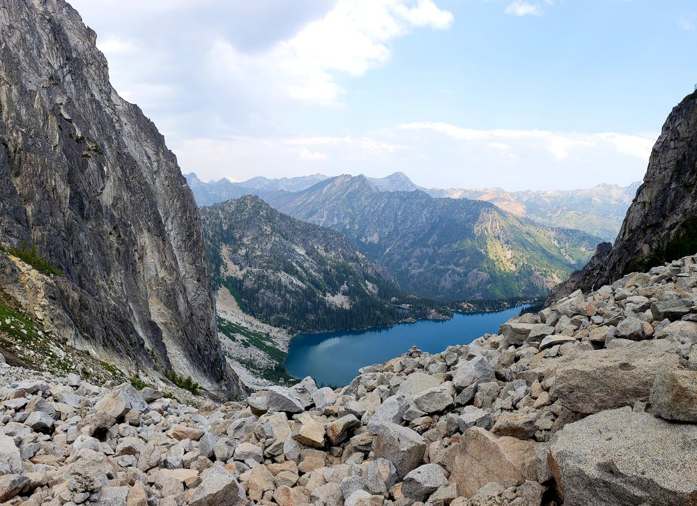 Looking back at Colchuck Lake from the top of Aasgard Pass