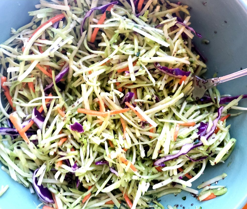 The cabbage & broccoli slaw that will accompany your sandwich (or, makes a great side dish)!