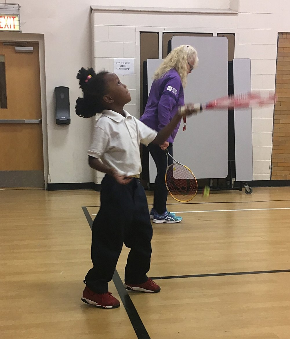Coach Eaker has seen significant improvement in hand-eye coordination as many of the ACE participants had not picked up a tennis racket or tennis ball prior to joining the program.