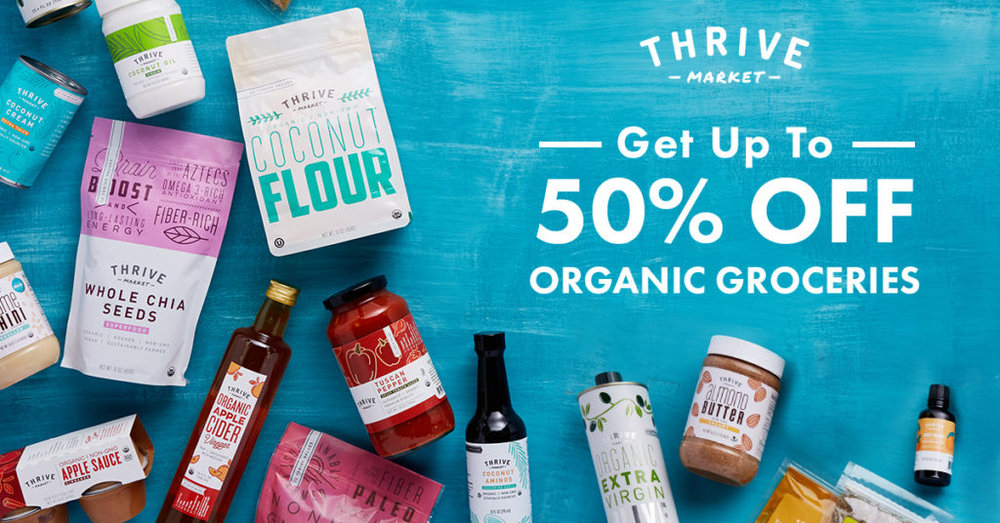 Thrive Market offers 50% off organic, non-gmo and other wholesome foods with fast, free shipping on orders over $49.00.