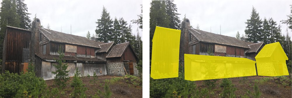 The yellow sections show later exterior additions to the lodge that will be removed to restore the structure.s original look.