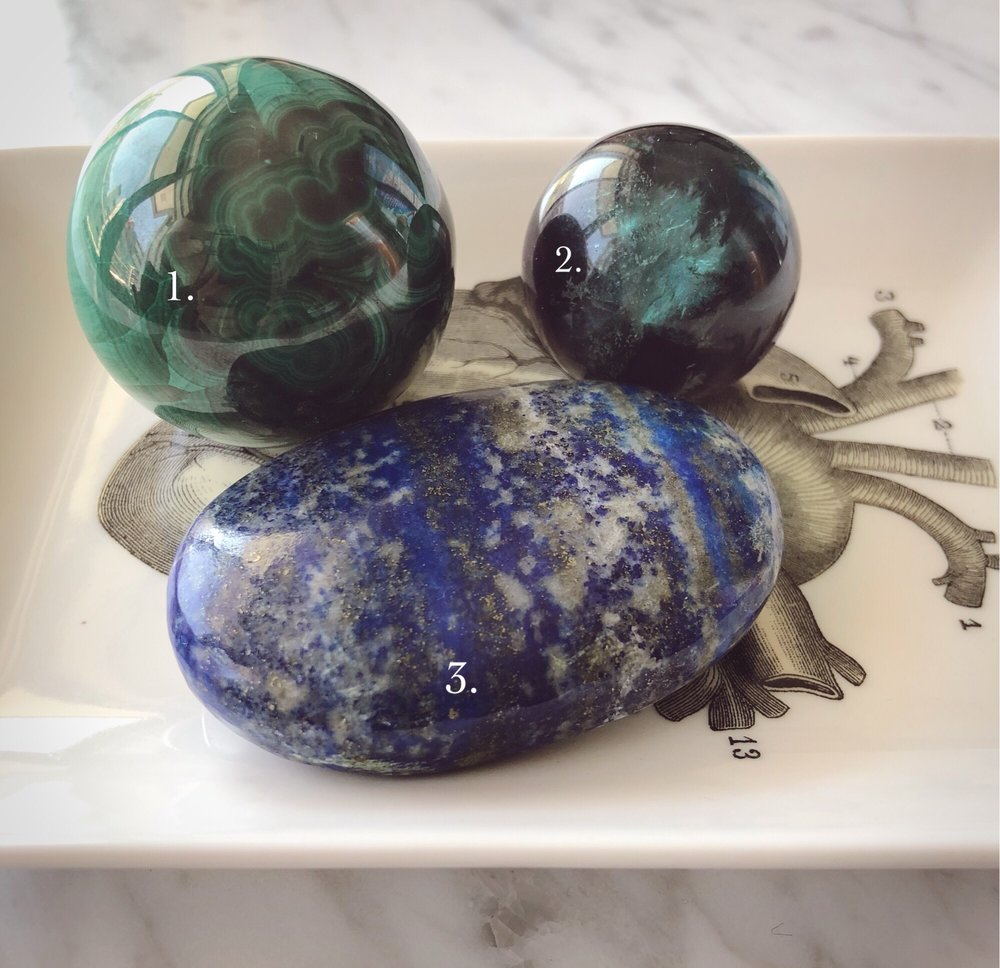 1. Malachite sphere from Center for the New Age |  2. Rainbow fluorite from Peace Place (I think...) | 3. Lapis Lazuli palm stone from Mystical Bazaar