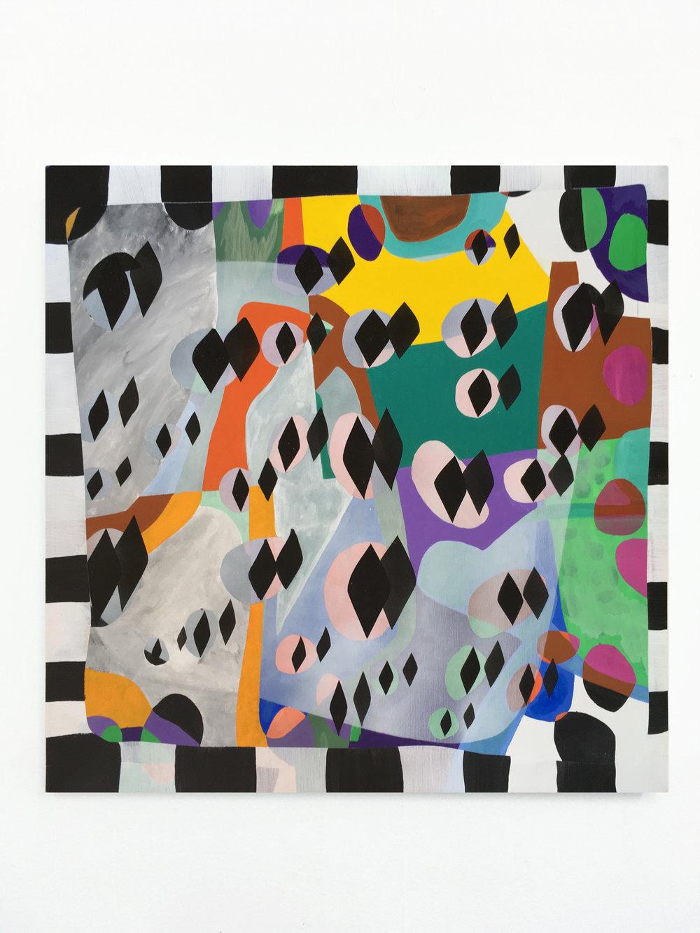 "Brett Flanigan -"" Entanglement "".Acrylic on Canvas.23.5 x 23.5 Inches.2018."
