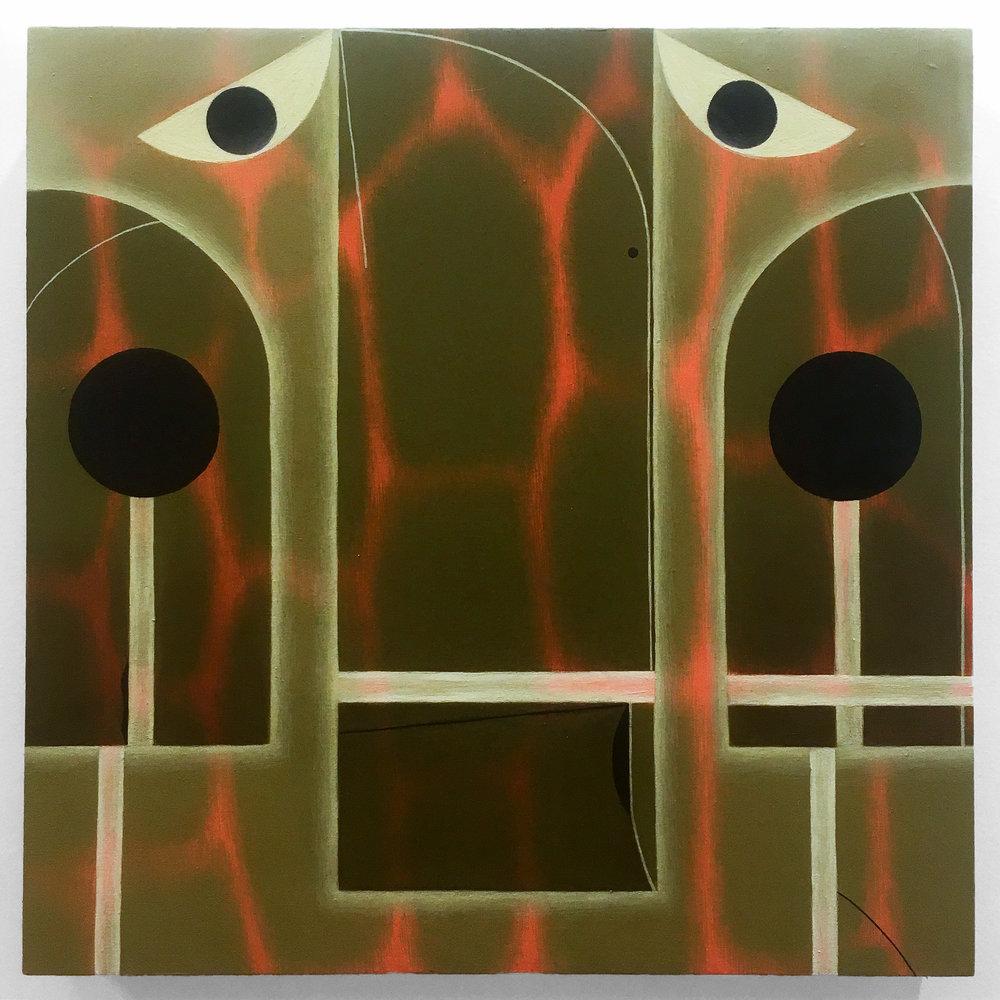 "Angela Heisch -  ""Haze Gaze""  Oil on Canvas over Wood Panel. 12 x 12 Inches. 2018."