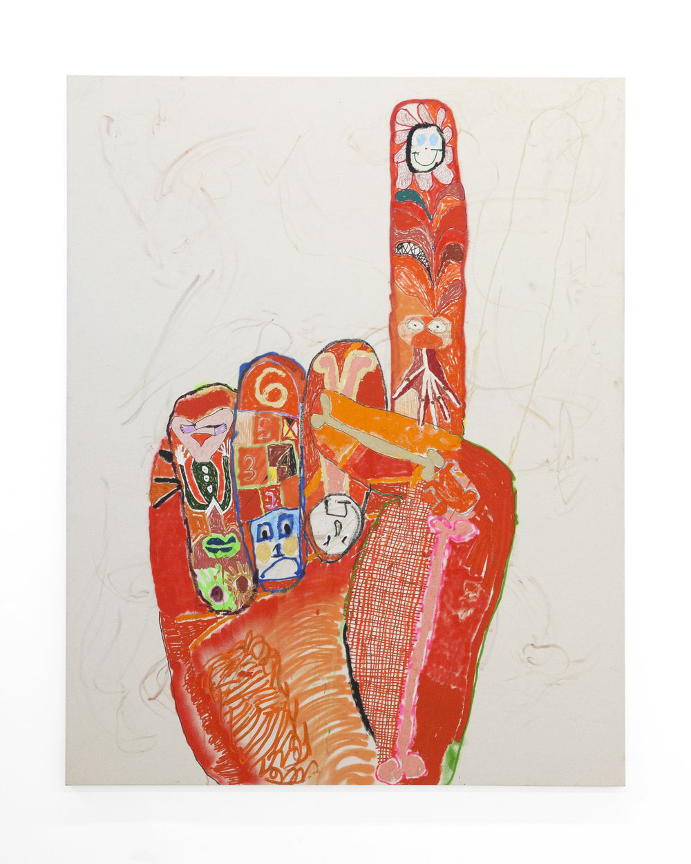 "Michael Swaney "" Finger Family (14th Hand)""  Acrylic, Spray Paint, Oil Bar and Oil Pastel on Canvas. 74.8 x 59.06 Inches.  190h x 150w cm. 2018."