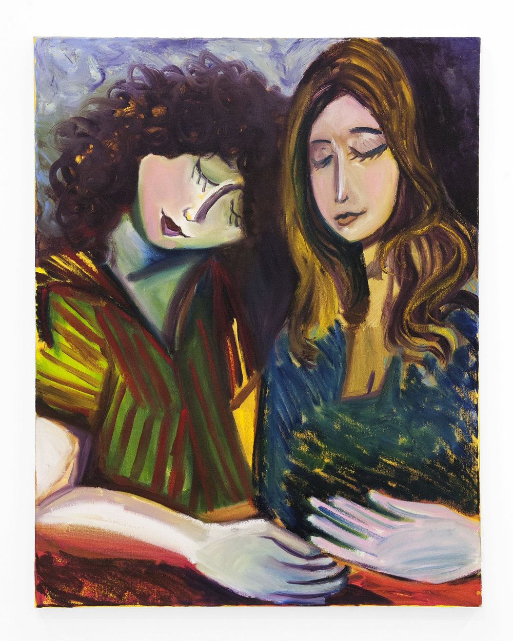 """Sam Spano -  """"Two Friends (Sasha and Haydyn)""""  Oil on Canvas. 28 x 22 Inches. 2018."""