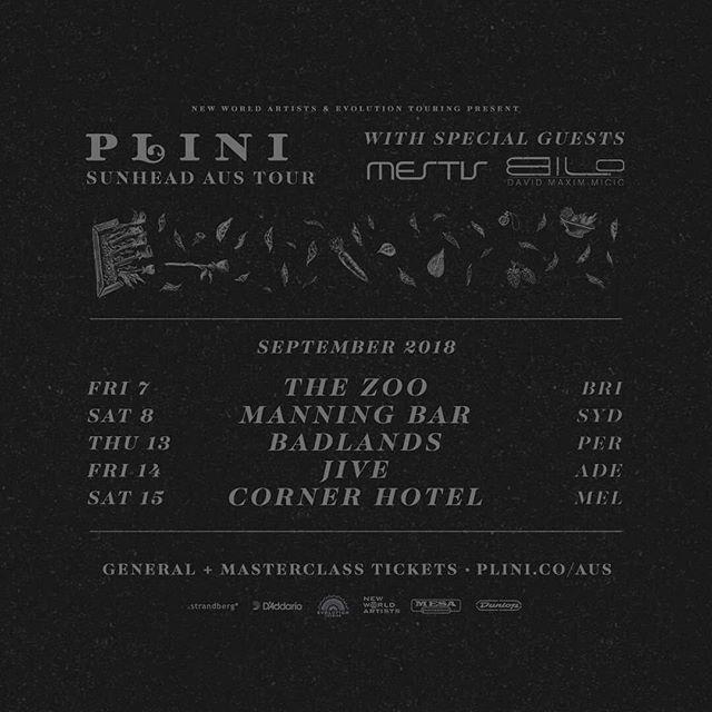 PLINI 🐢 MESTIS 🐋 DAVID MAXIM MICIC 🌙 Instrumental madness hits Australia 🎸 Tickets on sale now 🎟️ plini.co/aus
