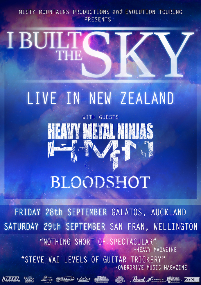 I Built The Sky New Zealand with Heavy Metal Ninjas Bloodshot Auckland Wellington